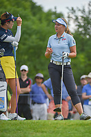 Brooke M. Henderson (CAN) shares a laugh with So Yeon Ryu (KOR) on the tee at 11 during round 3 of the 2018 KPMG Women's PGA Championship, Kemper Lakes Golf Club, at Kildeer, Illinois, USA. 6/30/2018.<br /> Picture: Golffile | Ken Murray<br /> <br /> All photo usage must carry mandatory copyright credit (&copy; Golffile | Ken Murray)