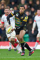 20121027 Copyright onEdition 2012©.Free for editorial use image, please credit: onEdition..Luther Burrell of Northampton Saints in action during the Aviva Premiership match between Northampton Saints and Saracens at Franklin's Gardens on Saturday 27th October 2012 (Photo by Rob Munro)..For press contacts contact: Sam Feasey at brandRapport on M: +44 (0)7717 757114 E: SFeasey@brand-rapport.com..If you require a higher resolution image or you have any other onEdition photographic enquiries, please contact onEdition on 0845 900 2 900 or email info@onEdition.com.This image is copyright the onEdition 2012©..This image has been supplied by onEdition and must be credited onEdition. The author is asserting his full Moral rights in relation to the publication of this image. Rights for onward transmission of any image or file is not granted or implied. Changing or deleting Copyright information is illegal as specified in the Copyright, Design and Patents Act 1988. If you are in any way unsure of your right to publish this image please contact onEdition on 0845 900 2 900 or email info@onEdition.com