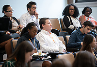 Occidental College President Jonathan Veitch talks to InternLA students about employment at one of their Impact sessions on Friday, June 21, 2019 in Fowler Hall.<br />