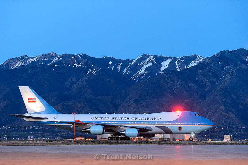 Trent Nelson  |  The Salt Lake Tribune<br /> Air Force One taxies after landing at Hill Air Force Base to kick off the President's visit to Utah, Thursday April 2, 2015.