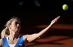 Czech Republic's Klara Zakopalova serves to Maria Teresa Torro-Flor on their 2014 International Tennis Federation Fed Cup World Group first-round tie at the Blas Infante tennis centre in Sevilla on February 10, 2014. Zakopalova won 6-3,2-6,6-1. <br /> PHOTOCALL3000 / GL