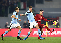Football, Serie A: AS Roma - S.S. Lazio, Olympic stadium, Rome, January 26, 2020. <br /> Roma's Lorenzo Pellegrini (r) in action with Lazio's Sergej Milincovic-Savic (c) and Lukas Leiva (l) during the Italian Serie A football match between Roma and Lazio at Olympic stadium in Rome, on January,  26, 2020. <br /> UPDATE IMAGES PRESS/Isabella Bonotto