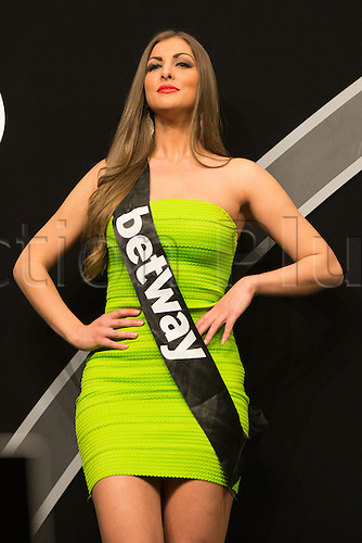 28.04.2016. Barclaycard Arena, Birmingham, England. Betway PDC Premier League Darts. Night 13. A Betway walkon girl.