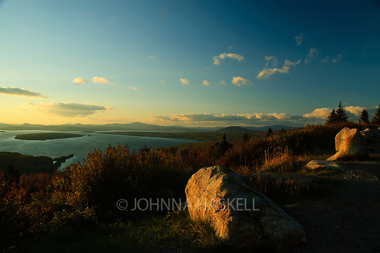 The sunset view from the overlook of Mooselookmeguntic Lake in Rangeley Maine.