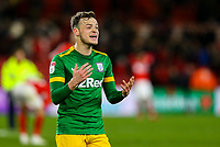 Preston North End's Brandon Barker celebrates after the final whistle<br /> <br /> Photographer Alex Dodd/CameraSport<br /> <br /> The EFL Sky Bet Championship - Middlesbrough v Preston North End - Wednesday 13th March 2019 - Riverside Stadium - Middlesbrough<br /> <br /> World Copyright &copy; 2019 CameraSport. All rights reserved. 43 Linden Ave. Countesthorpe. Leicester. England. LE8 5PG - Tel: +44 (0) 116 277 4147 - admin@camerasport.com - www.camerasport.com