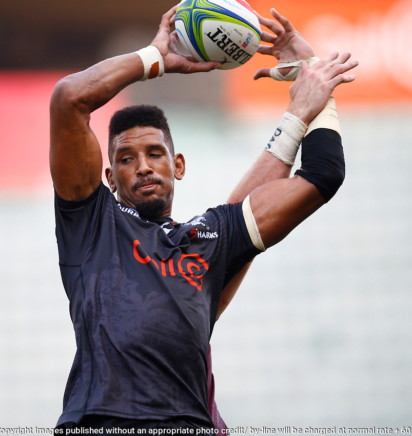 Hyron Andrews of the Cell C Sharks during the super rugby match between the Cell C Sharks and the Queensland Reds at Jonsson Kings Park Stadium in Durban, South Africa 19th April 2019. Photo: Steve Haag / stevehaagsports.com