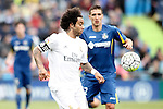 Getafe's Stefan Scepovic (r) and Real Madrid's Marcelo Vieira during La Liga match. April 16,2016. (ALTERPHOTOS/Acero)