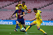 1st October 2017, Camp Nou, Barcelona, Spain; La Liga football, Barcelona versus Las Palmas; Leo Messi of FC Barcelona dribbles through the Las Palmas defense as the game is played behind closed doors due to the riots in Barcelona during the Catlaonio referendum
