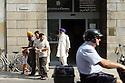 IMMIGRANTS COMING OUT FROM IMMIGRATION OFFICE AT POLICE DEPARTMENT IN CREMONA, JULY 15, 2005...IMMIGRATI ALL'USCITA DALL'UFFICIO IMMIGRAZIONE DELLA QUESTURA DI CREMONA 15 LUGLIO 2005..