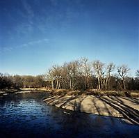 An ice filled river in white tail deer habitat in Superior, Nebraska, Friday, December 2, 2011. ..Photo by Matt Nager
