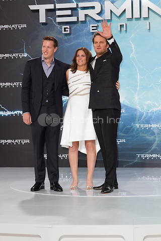 Producers Dana Goldberg and David Ellison and Jason Clarke attending the Terminator: Genisys Premiere held at CineStar, Sony Center, Berlin, Germany, 21.06.2015. <br /> Photo by Christopher Tamcke/insight media /MediaPunch ***FOR USA ONLY***