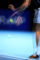 15th November 2019; 02 Arena. London, England; Nitto ATP Tennis Finals; Multiple exposure of Stefanos Tsitsipas (Greece) preparing to serve to Rafael Nadal (Spain) - Editorial Use
