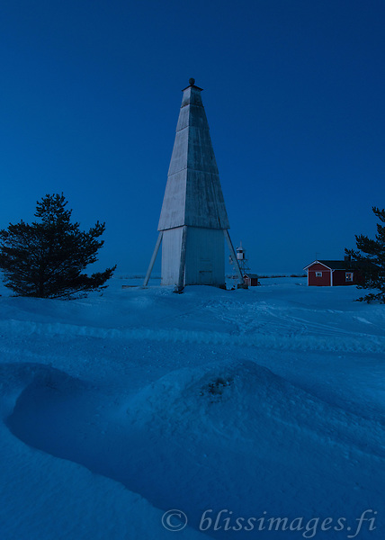 Keskiniemi Daybeacon & Lighthouse at Twight on the northern shore of Hailuoto Island, in the Gulf Of Bothnia, off Oulu, Finland.