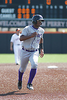 Winston-Salem Dash outfielder Louis Silverio (15) running the bases during a game against the Buies Creek Astros at Jim Perry Stadium on the campus of Campbell University on April 9, 2017 in Buies Creek, North Carolina. Buies Creek defeated Winston-Salem 2-0. (Robert Gurganus/Four Seam Images)