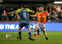 Blackpool's Jay Spearing competing with Solihull Moors' Darren Carter<br /> <br /> Photographer Andrew Kearns/CameraSport<br /> <br /> The Emirates FA Cup Second Round - Solihull Moors v Blackpool - Friday 30th November 2018 - Damson Park - Solihull<br />  <br /> World Copyright © 2018 CameraSport. All rights reserved. 43 Linden Ave. Countesthorpe. Leicester. England. LE8 5PG - Tel: +44 (0) 116 277 4147 - admin@camerasport.com - www.camerasport.com
