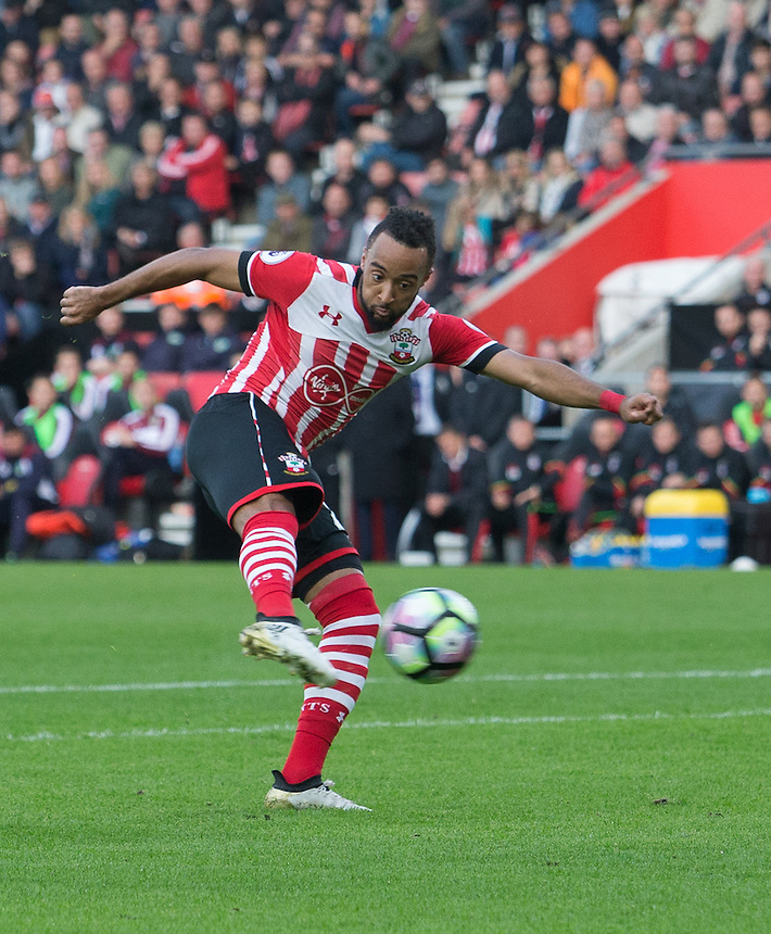 Southampton's Nathan Redmond strikes home his sides second goal<br /> <br /> Photographer James Williamson/CameraSport<br /> <br /> The Premier League - Southampton v Burnley - Sunday 16th October 2016 - St Mary's Stadium - Southampton<br /> <br /> World Copyright &copy; 2016 CameraSport. All rights reserved. 43 Linden Ave. Countesthorpe. Leicester. England. LE8 5PG - Tel: +44 (0) 116 277 4147 - admin@camerasport.com - www.camerasport.com