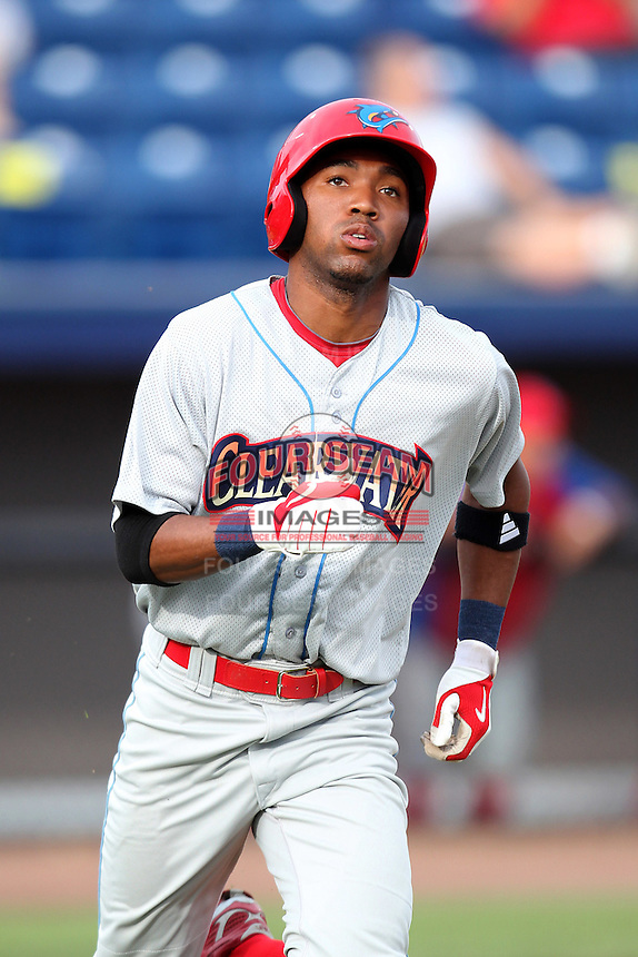 Clearwater Threshers outfielder D'Arby Myers #19 during a game against the Brevard County Manatees at Space Coast Stadium on April 29, 2012 in Viera, Florida.  Brevard County defeated Clearwater 4-1.  (Mike Janes/Four Seam Images)