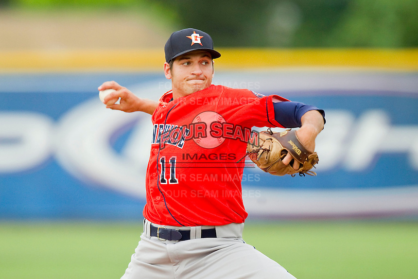 Greeneville Astros relief pitcher Christian Garcia (11) in action against the Burlington Royals at Burlington Athletic Park on July 1, 2013 in Burlington, North Carolina.  The Astros defeated the Royals 7-0 in Game One of a doubleheader.  (Brian Westerholt/Four Seam Images)