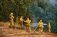 870000001 county firefighters mop up a massive wildfire near interstate 5 in newhall los angeles county california
