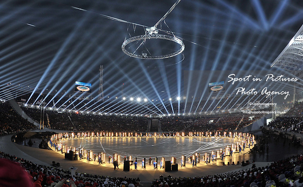 Light show. Opening Ceremony. Pyeongchang2018 winter Olympics. Olympic stadium. Pyeongchang. Republic of Korea. 09/02/2018. ~ MANDATORY CREDIT Garry Bowden/SIPPA - NO UNAUTHORISED USE - +44 7837 394578
