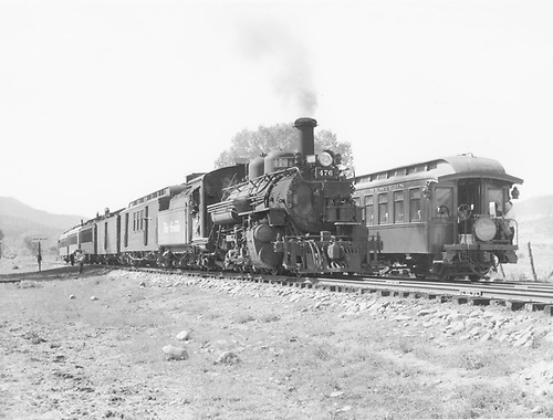 The eastbound and westbound D&amp;RGW San Juan passenger trains meeting at Carracas.  K-28 #476.<br /> D&amp;RGW  Carracas, CO  Taken by Collins, Robert F. - 9/30/1946
