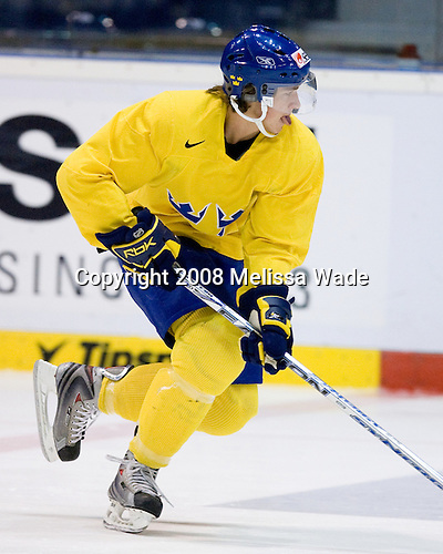 Carl Hagelin (Sweden 12) - Team Sweden's players were allowed to choose between the morning skate and outdoor exercise including soccer on the morning of Friday, January 4, 2008, during the World Junior Championship at CEZ Arena in Pardubice, Czech Republic.  Hagelin plays for the University of Michigan Wolverines and is a 2007 sixth round pick of the New York Rangers.