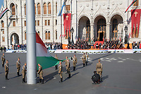 Guard of honour raise the country's flag during a ceremony in front of the Parliament on the Hungarian national holiday celebrating the foundation of the State in Budapest, Hungary  on Aug. 20, 2018. ATTILA VOLGYI