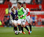 Josh Harrop of Manchester United during warm up before the English Premier League match at the Old Trafford Stadium, Manchester. Picture date: May 21st 2017. Pic credit should read: Simon Bellis/Sportimage
