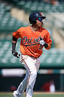 Baltimore Orioles shortstop Milton Ramos (47) runs to first base during an Instructional League game against the Atlanta Braves on September 25, 2017 at Ed Smith Stadium in Sarasota, Florida.  (Mike Janes/Four Seam Images)