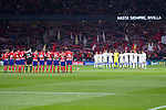 Atletico de Madrid and Real Madrid during minute's silence for soccer player Feliciano Rivilla before La Liga match between Atletico de Madrid and Real Madrid at Wanda Metropolitano in Madrid, Spain. November 18, 2017. (ALTERPHOTOS/Borja B.Hojas)