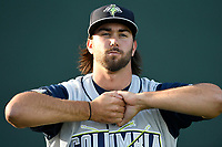 Starting pitcher David Peterson (30) of the Columbia Fireflies, a 2017 1st Round draft pick, warms up before his Class A debut in a game against the Greenville Drive on Wednesday, April 18, 2018, at Fluor Field at the West End in Greenville, South Carolina. Columbia won 8-4. (Tom Priddy/Four Seam Images)