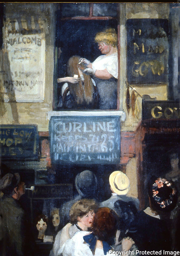 American Painters:  John Sloan--Hairdresser's Window, 1907.   Oil on canvas.  Wadsworth Atheneum.  Reference only.