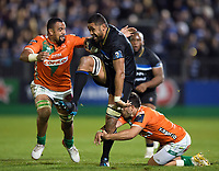 Taulupe Faletau of Bath Rugby takes on the Benetton Rugby defence. European Rugby Champions Cup match, between Bath Rugby and Benetton Rugby on October 14, 2017 at the Recreation Ground in Bath, England. Photo by: Patrick Khachfe / Onside Images