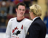 Jonathan Toews (Winnipeg, MB - University of North Dakota Fighting Sioux) was named a Media Allstar and best player of the gold medal game for Canada. Team Canada (gold), Team Russia (silver) and Team USA line up for the individual awards and team medal presentations following Team Canada's 4-2 victory over Team Russia to win the gold in the 2007 World Championship on Friday, January 5, 2007 at Ejendals Arena in Leksand, Sweden.