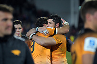 The Jaguares commiserate after the 2019 Super Rugby final between the Crusaders and Jaguares at Orangetheory Stadium in Christchurch, New Zealand on Saturday, 6 July 2019. Photo: Dave Lintott / lintottphoto.co.nz
