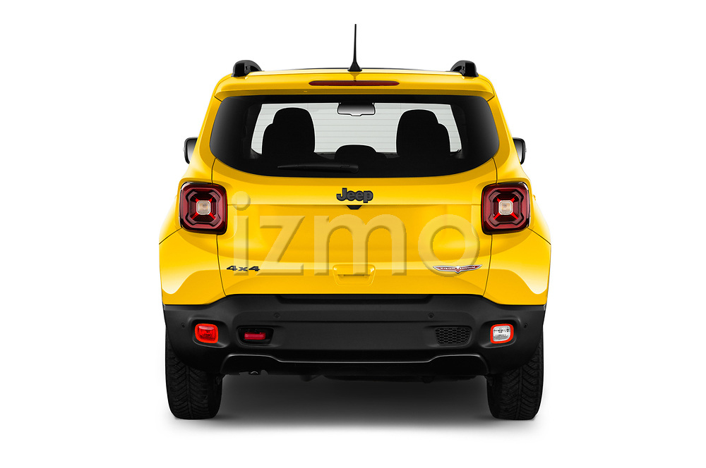 Straight rear view of 2019 JEEP Renegade Trailhawk 5 Door SUV Rear View  stock images