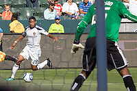 Sean Franklin of the LA Galaxy moves towards the goal. The Chicago Fire beat the LA Galaxy 3-2 at Home Depot Center stadium in Carson, California on Sunday August 1, 2010.