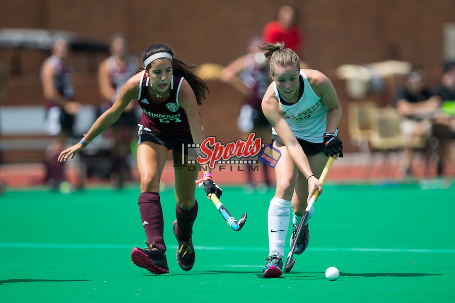 Megan Anderson (23) of the Wake Forest Demon Deacons keeps the ball away from Andrea Soler Codina (24) of the Missouri State Bears at Kentner Stadium on September 6, 2015 in Winston-Salem, North Carolina.  The Demon Deacons defeated the Bears 2-0.  (Brian Westerholt/Sports On Film)
