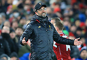 30th January 2019, Anfield, Liverpool, England; EPL Premier League football, Liverpool versus Leicester City; Liverpool manager Jurgen Klopp cuts a frustrated figure on the touchline as Liverpool press in vain for a second goal