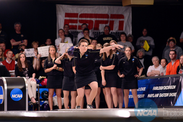 13 APR 2013: Vanderbilt Senior bowler Jessica Earnest takes aim as she bowls in the NCAA Division I Women's Bowling Championship that were held at Super Bowl Lanes in Canton, MI. Nebraska defeated Vanderbilt 4.5 to 2.5 to win their 4th national title. Mark Hicks/NCAA Photos