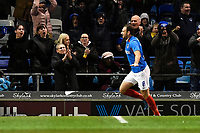 Brett Pitman of Portsmouth scores and celebrates during Portsmouth vs Altrincham, Emirates FA Cup Football at Fratton Park on 30th November 2019