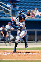 Jacksonville Jumbo Shrimp shortstop Cito Culver (2) at bat during a game against the Biloxi Shuckers on May 6, 2018 at MGM Park in Biloxi, Mississippi.  Biloxi defeated Jacksonville 6-5.  (Mike Janes/Four Seam Images)