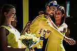 Race leader Julian Alaphilippe (FRA) Deceuninck-Quick Step retains the Yellow Jersey at the end of Stage 17 of the 2019 Tour de France running 200km from Pont du Gard to Gap, France. 24th July 2019.<br /> Picture: ASO/Pauline Ballet | Cyclefile<br /> All photos usage must carry mandatory copyright credit (© Cyclefile | ASO/Pauline Ballet)