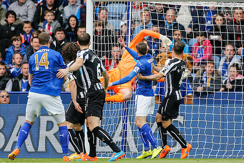 02.05.2015.  Leicester, England. Barclays Premier League. Leicester City versus Newcastle United. Tim Krul of Newcastle United is beaten by the header of Leonardo Ulloa of Leicester City to concede the first goal of the game.