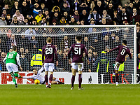 3rd March 2020; Easter Road, Edinburgh, Scotland; Scottish Premiership Football, Hibernian versus Heart of Midlothian; Sean Clare of Hearts scores the opening goal from the penalty spot in the 53rd minute