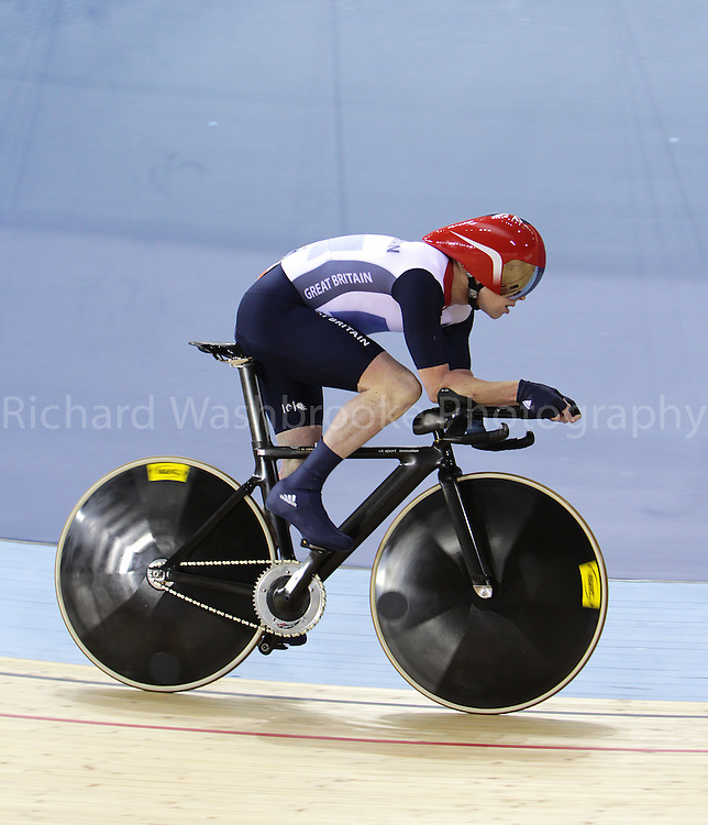 Paralympics London 2012 - ParalympicsGB - Cycling Track held at the Velodrome  31st August 2012.  .Men's Individual C3 Pursuit at the Paralympic Games in London. Photo: Richard Washbrooke/ParalympicsGB)  Shaun McKeown