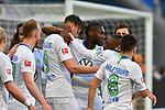 15.02.2020, PreZero-Arena, Sinsheim, GER, 1. FBL, TSG 1899 Hoffenheim vs. VFL Wolfsburg, <br /> <br /> DFL REGULATIONS PROHIBIT ANY USE OF PHOTOGRAPHS AS IMAGE SEQUENCES AND/OR QUASI-VIDEO.<br /> <br /> im Bild: Jubel ueber das Tor zum 0:1 durch Wout Weghorst (VfL Wolfsburg #9)<br /> <br /> Foto © nordphoto / Fabisch