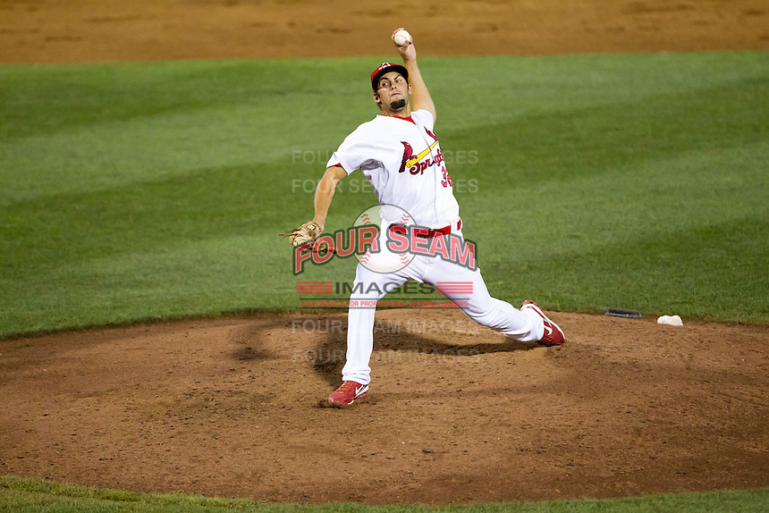Nick Greenwood (32) of the Springfield Cardinals delivers a pitch during a game against the Tulsa Drillers at Hammons Field on July 19, 2011 in Springfield, Missouri. Tulsa defeated Springfield 17-11. (David Welker / Four Seam Images)