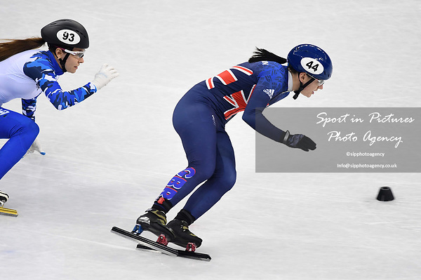 Charlotte Gilmartin (GBR, 44) and Emina Malagich (OAR). Short track. Gangneung ice arena. Pyeongchang2018 winter Olympics. Gangneung. Republic of Korea. 10/02/2018. ~ MANDATORY CREDIT Garry Bowden/SIPPA - NO UNAUTHORISED USE - +44 7837 394578