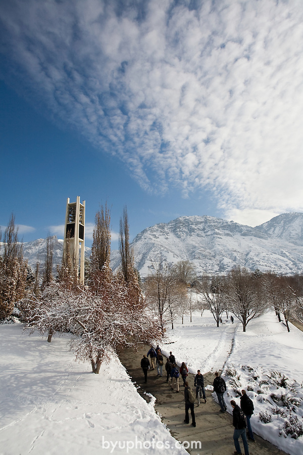 0801-47 160.CR2..0801-47 GCS Snow on Campus..Bell Tower with snow, students walking..January 2008..Photo by Jaren Wilkey/BYU..© BYU Photo 2008.All Rights Reserved.photo@byu.edu  (801)422-7322